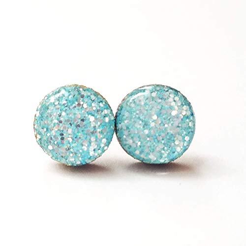 Handmade blue and metallic silver fine glitter wooden stud earrings 10mm