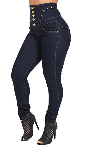 Women's High Rise Butt Lifting Skinny Jeans with Gold Detail, Dark Wash-15