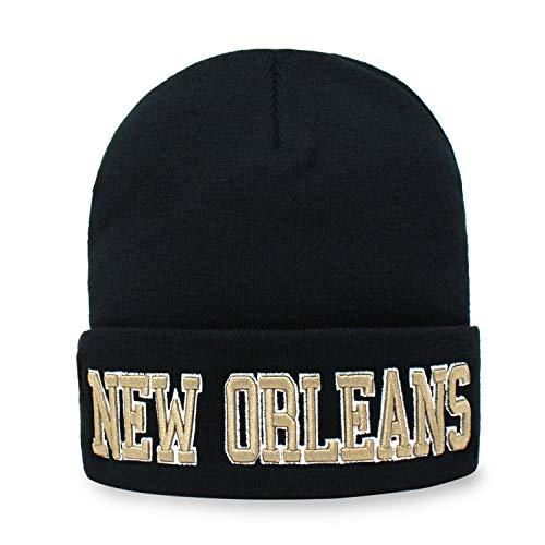 Classic Cuff Beanie Hat Black Cuffed Football Winter Skully Hat Knit Toque Cap (New Orleans)