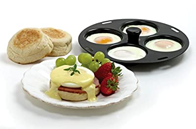 """NORPRO 992 Nonstick 4 Egg Poacher Poached Eggs Fits 10"""" to 12"""" Skillets"""