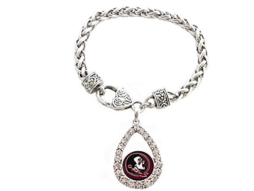 (Sports Accessory Store Florida State Seminoles Red Teardrop Clear Crystal Silver Bracelet Jewelry)