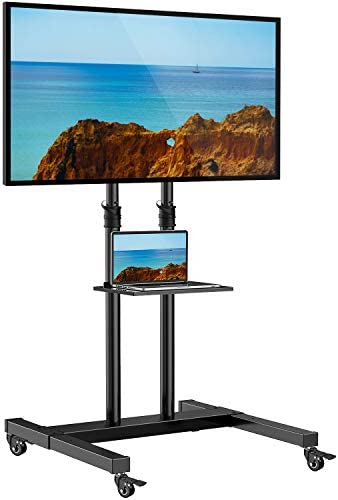 Mobile TV Stand on Wheels for 32-60 Inch Flat/Curved Panel Screens TVs - Height Adjustable Floor Trolley Stand Holds as much as 99lbs - Tilt Rolling TV Cart with Shelf Max VESA 600x400mm
