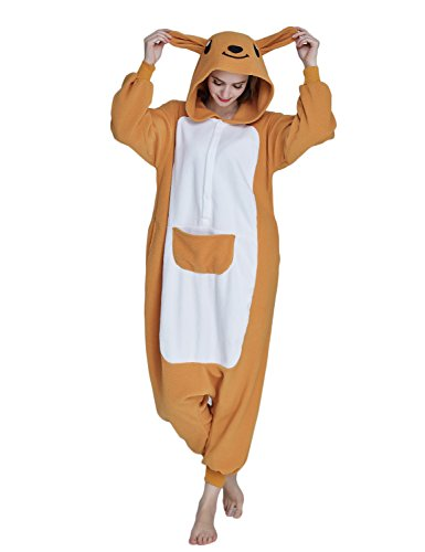 KING FUN Unisex Adult Pajamas Kangaroo Animal Cosplay Homewear Costume Medium A5 -