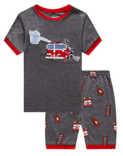 Family Feeling Little Boys Fire Truck Pajamas Short Sets 100% Cotton Kid Summer Pjs 5