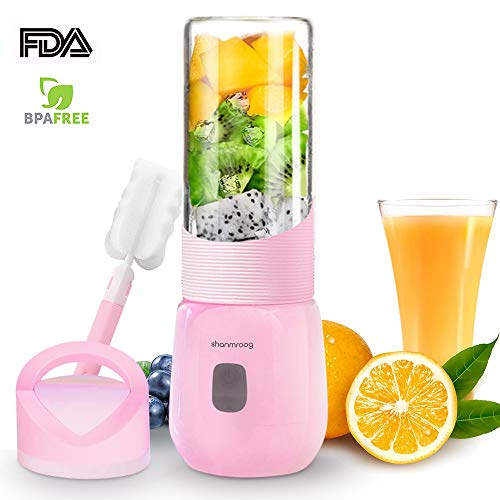 【2019 Newest】Portable Blender,Multi-functional Small Blender,15000RPM Electric mixer for Shakes and Smoothies,Fruit,Baby food, USB Rechargeable Blender,Stronger and Faster with Stainless Steel 6-Blades(FDA BPA free)-Pink (Best Blenders For Smoothies 2019)