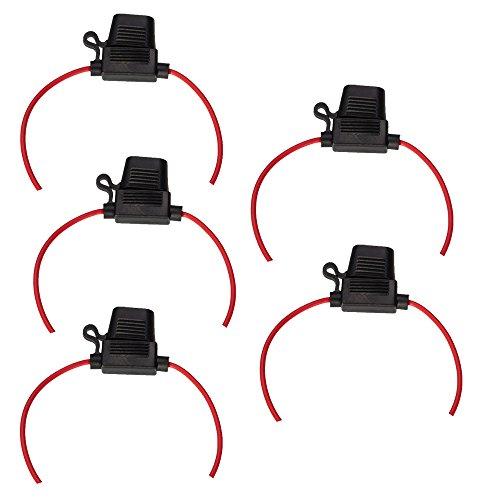 ESUPPORT 12 Gauge ATC ATO Fuse Holder Box In-Line AWG Wire Copper 12V Blade Standard Plug Socket Pack of 5