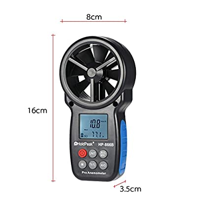 Ocamo Mini LCD Digital Anemometer Thermometer Wind Speed Air Velocity Temperature Measuring Tool Anemometro with Backlight