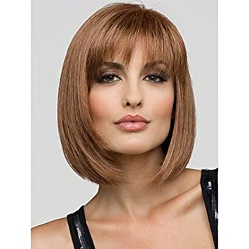 OOFAY JF® Belle joven Bob Peinado Corto línea recta Mono Top Capless  Cabello humanos peluca 5 colores para elegir 0cc456ab7c0c