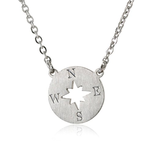 HUAN XUN Stainless Steel Silver Karma Compass Necklace Dainty Chain, (Stainless Steel Compass)