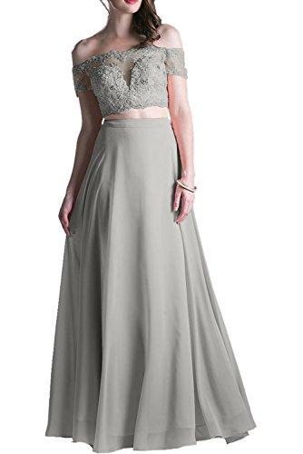 Abendkleider Spitze Rosa Abschlusskleider Charmant Ballkleider Damen Promkleider Langes Kurzarm Silber EqgBt5