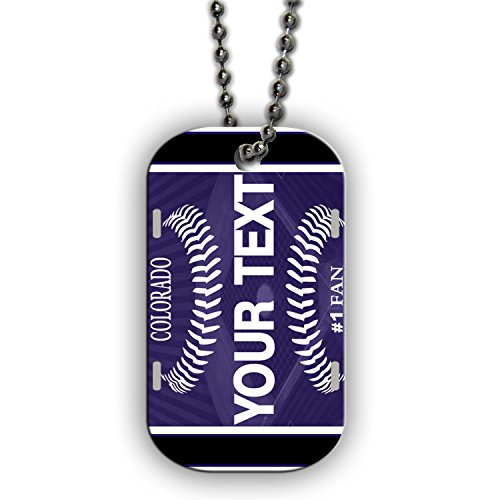 BleuReign(TM) Personalized Custom Name Baseball Colorado License Plate Single Sided Metal Military ID Dog Tag with Beaded Chain