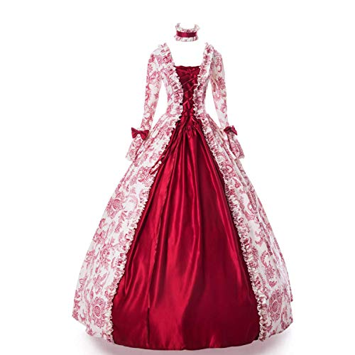 CountryWomen Medieval Renaissance Queen Arwen Christmas Holiday Dress Ball Gown Theatrical Cosplay Clothing (M, Red)]()