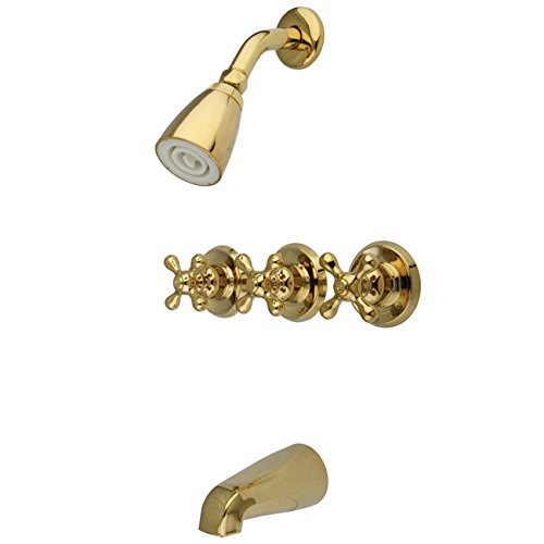 Kingston Brass KB232AX Tub and Shower Faucet with Three Cross Handles, Polished Brass