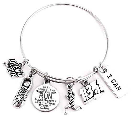 Running bracelet, Running jewelry, 13.1 Half Marathon bracelet, 13.1 bracelet, Marathon bracelet, Runner gift, Running gift, Marathon gift, Running bangle bracelet, 13.1 Marathon bangle bracelet
