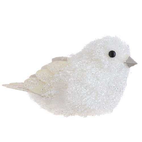 White Glitter Bird with Feathers Christmas Ornament, 5 Inches (Bird Glitter Feather)