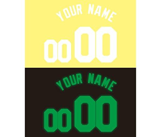 Jersey Lettering Kit - Custom Glitter, Glow in Dark, Metallic, Reflective, Hologram Vinyl Iron-on Transfer Shirt Name and Number Kits for Custom Soccer, Basketball and Baseball Jerseys,Shirts,Clothing (Glow Lime in Dark)