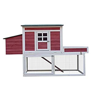 """Pawhut 67"""" Farmhouse Wooden Chicken Coop with Display Top, Run Area and Nesting Box"""