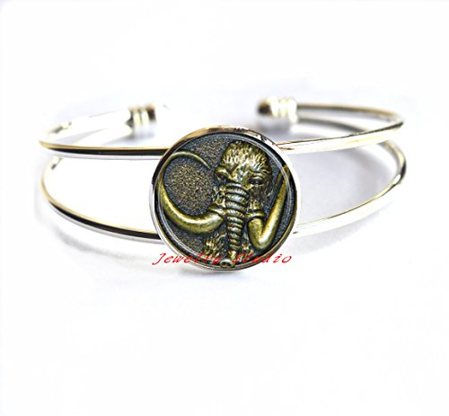 Charming BraceletNew Trendy Mammoth Elephant Bracelets Glass Beautiful Photo Jewelry Round Dome Bracelets Bracelet Link Chain Gifts For Women Men,T0040 ()