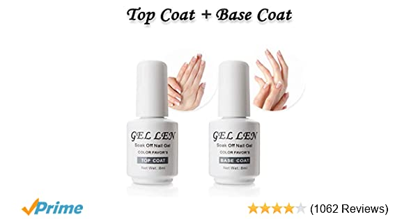 Amazon.com: Gellen Top Coat And Base Coat for Gel Polish - Long ...