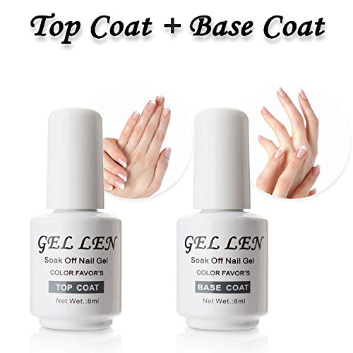 Gellen Top Coat And Base Coat for Gel Polish - Long lasting Shine Finish, 8ml Each Bottle ()