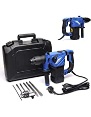 1500W SDS-Plus Rotary Hammer Drill Breaker 4 Modes 6 Variable Speed Level with SDS Drill Bits Point Chisel and Carrying Case, 360 Degree Rotary Handle Heavy Duty Electric Power Tool