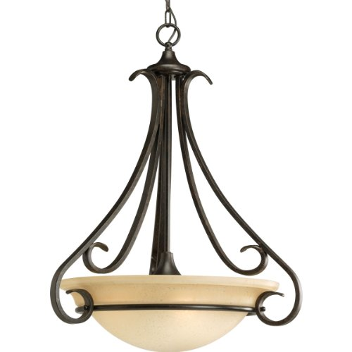 Progress Lighting P3847-77 Torino Collection Three-Light Foyer Pendant, Forged Bronze, 22