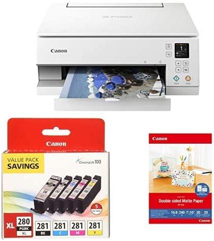 "Amazon.com: Canon PIXMA TS6320 Wireless All-in-One Photo Printer, White & PGI-280XL/CLI-281 5 Color Pack & 7"" x 10"" MP-101D Double Sided Matte Photo Paper: Electronics"