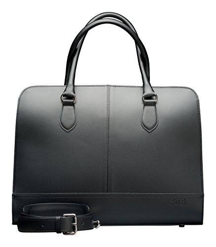 Su.B women's 15.6' 14' inch Professional Design Laptop Bag with Trolley Strap Genuine Leather - Made in Italy (Black)