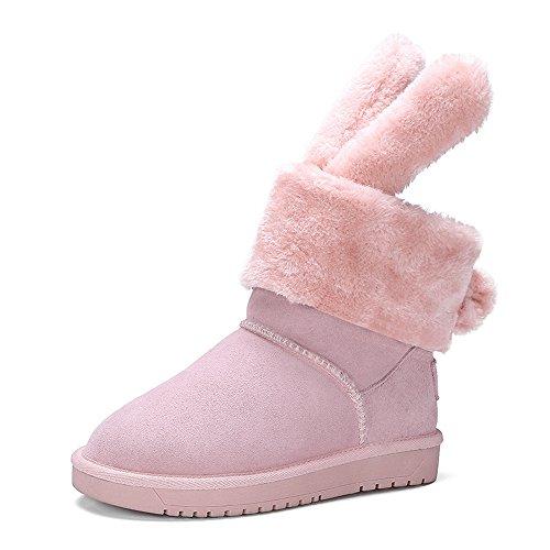 Nio Sju Mocka Läder Womens Rund Tå Platt Klack Söt Kanin Handgjorda Snö Fotled Tossor Rosa