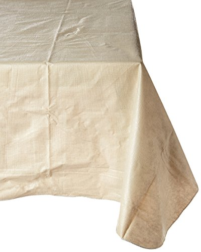 Polyester Lined Vinyl Cover (Carnation Home Fashions Vinyl Tablecloth with Polyester Flannel Backing, 52-Inch, by 90-Inch, Linen Color)