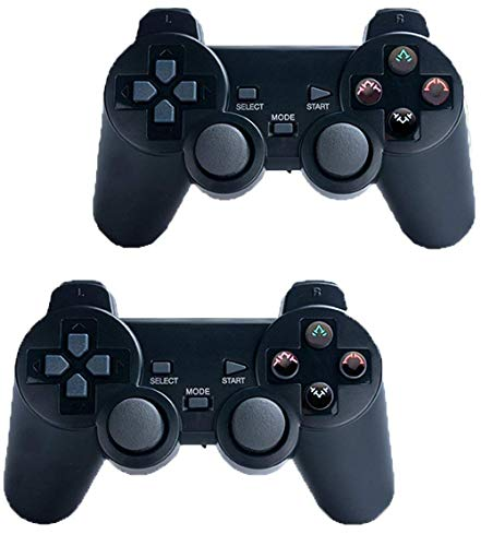 Saloke 2 Packs Wireless Gaming Console for Ps2 Double Shock (Black and Black)