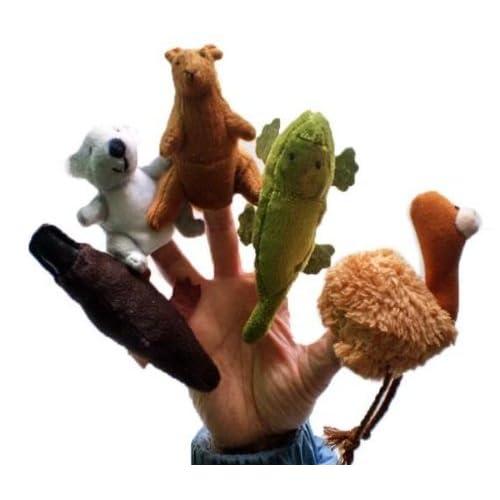 5x doigt marionnettes. Enfants de Storytelling Helper, marionnettes à main/doigts Marionnettes. Australien Animaux ty040