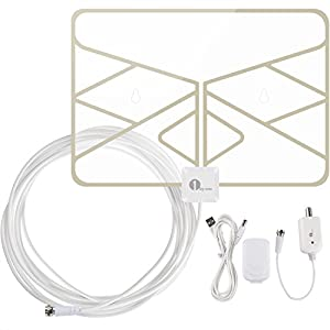 1byone OUS00-0568 Window Antenna 50 Miles Super Thin Amplified Digital HDTV Antenna with 20ft Coaxial Cable, Extreme Soft Design and Lightweight