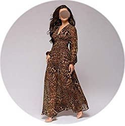 Colorful Space Women Sexy Leopard Printed V Neck Chiffon Long Dress Sleeve Bohemian Vestidos Women Casual Beach Dress Leopard Printed M