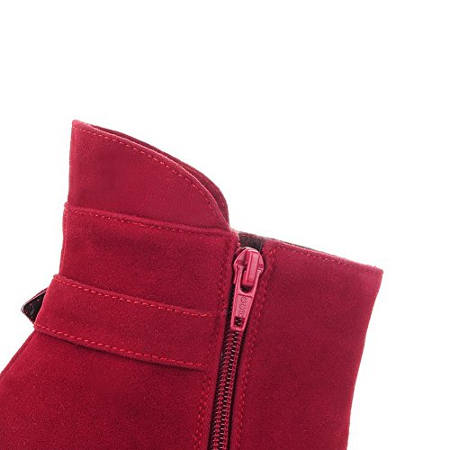 AllhqFashion Womens Zipper High-Heels Imitated Suede Solid Low-top Boots Red Ql8tLox