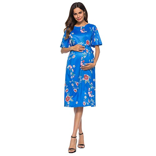 Nat Terry Women Maternity Dresses, Summer Floral Prints Short Sleeve Dress for Pregnant by Nat Terry