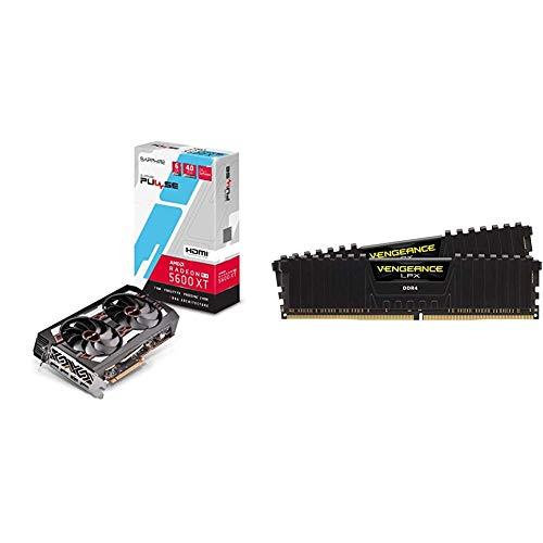 Sapphire 11296-01-20G Radeon Pulse RX 5600 XT 14GBPS 6GB GDDR6 HDMI / Triple DP OC w/ Backplate & Corsair Vengeance LPX 16GB (2x8GB) DDR4 DRAM 3200MHz C16 Desktop Memory Kit - Black