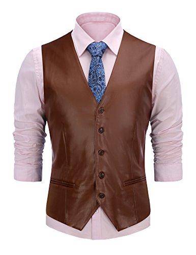 FISOUL Men's Suit Vest Faux Leather Slim Fit Casual Motorcycle Jacket Vests ()