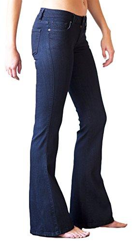Mia & Moss Women's Mid-Rise Flare Bell Bottom Jean (24, Dark Indigo Rinse)