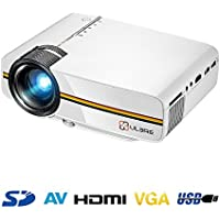 Portable Movie Projector 1080P with HDMI Cable, ULBRE Multimedia Home Cinema 1200 Lumens 130 Inch Large Screen Support DVD Player PC Laptop Smartphone Xbox for Video Games and Theater Entertainment