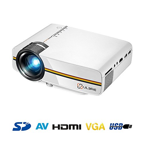 Portable Movie Projector 1080P with HDMI Cable, ULBRE Multimedia Home Cinema 1200 Lumens 130 Inch Large Screen Support DVD Player PC Laptop Smartphone Xbox for Video Games and Theater Entertainment by ULBRE