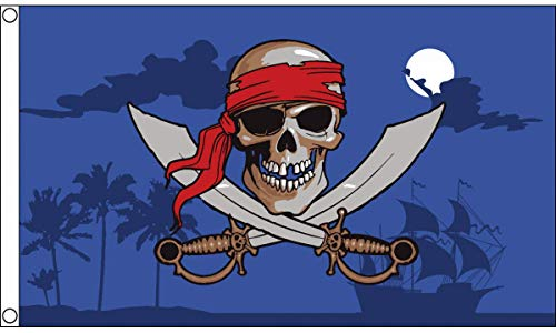 (AZ FLAG Pirate Night Sky Flag 3' x 5' - Red Bandana Pirate Flags 90 x 150 cm - Banner 3x5 ft)
