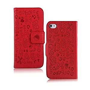 fashion case Little Witch Cartoon Pattern Full Body Case for iPhone 5s Red