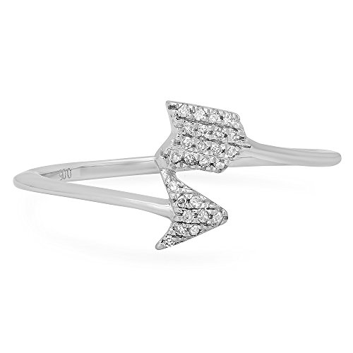 (Dazzlingrock Collection 0.05 Carat (ctw) 14K Round White Diamond Ladies Cupids Arrow Ring, White Gold)