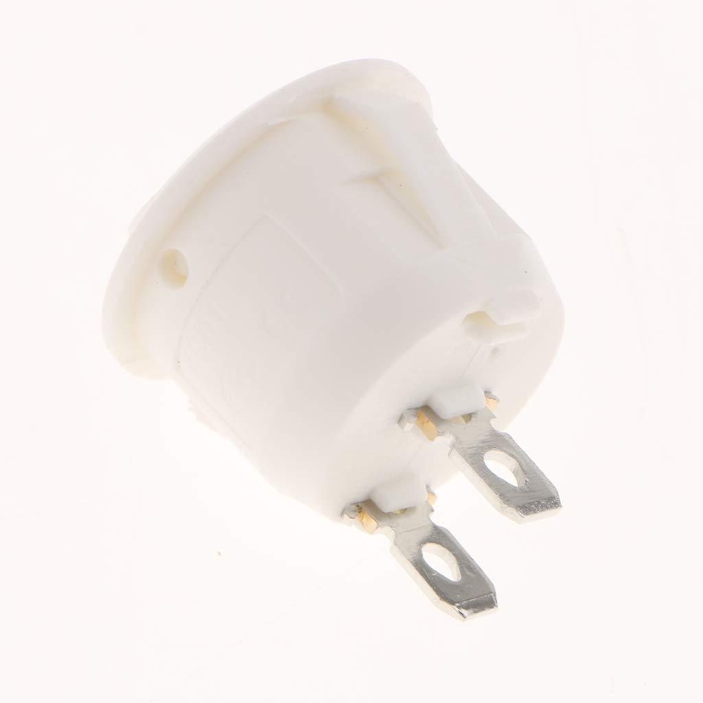 Sharplace 10 Pezzi Interruttore a Bilanciere Rotondo Pulsante Circolare Cruscotto Nylon Ottone Bianco