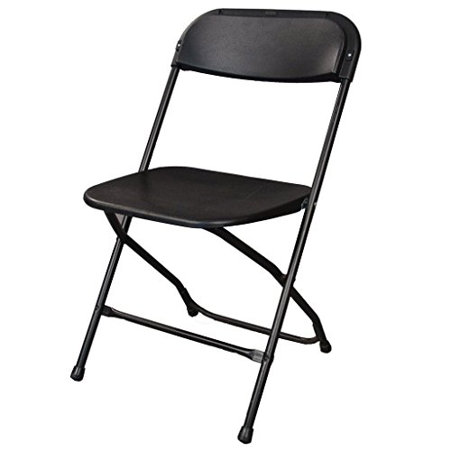 Ontario Furniture Lightweight, Lifetime Commercial Grade Contoured, Stackable, 800-Pound weight Capacity, Premium Steel Frame Black Metal Folding Chair with plastic Seat and Back for All Your Events