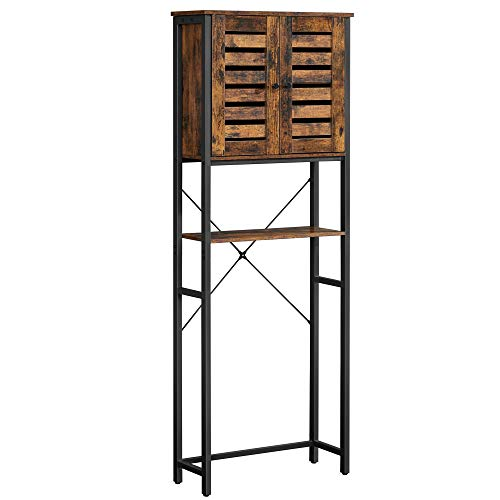 VASAGLE COBADO Over-The-Toilet Storage, Bathroom Organizer Cabinet, with Cupboard and Shelf, Steel Frame, Easy Assembly…