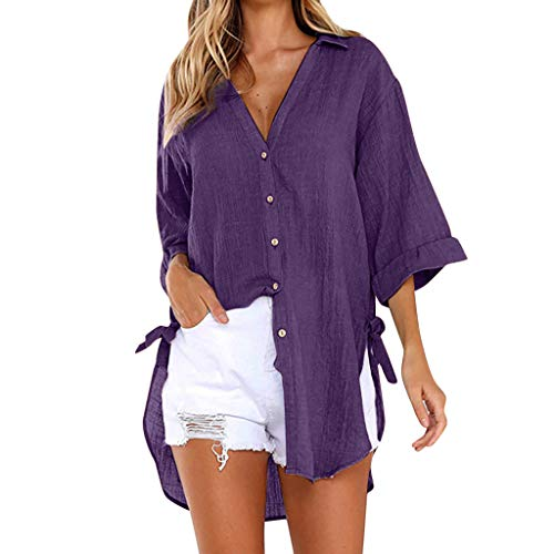 TUSANG Womens Tees Loose Button Long Shirt Dress Cotton Ladies Casual Tops T-Shirt Blouse Loose Comfy Tunic(G-Purple,US-18/CN-5XL) ()