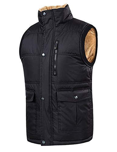 (Omoone Men's Stand Collar Sherpa Lined Padded Puffer Vest Waistcoat (Black, M))