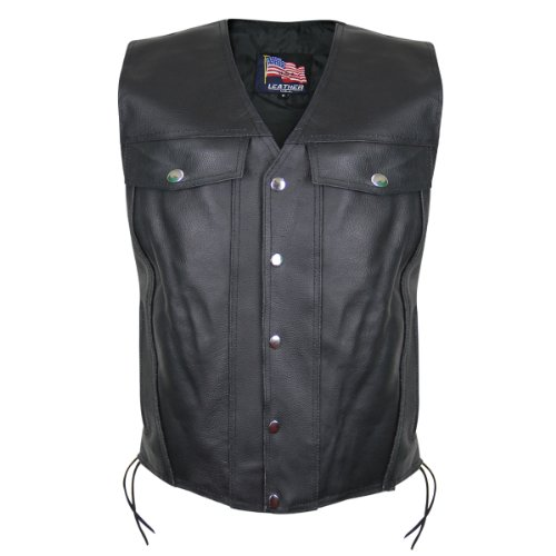 USA 1207 Leather Mens Undercover Gun Pocket Vest - X-Large by USA Leather